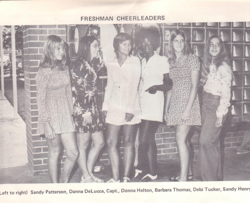 Freshman Cheerleaders. WOW! This photo was taken when we were on split sessions at Naples High, September to December, 1